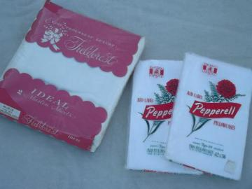 pure white cotton pillowcases and sheet in original vintage packages