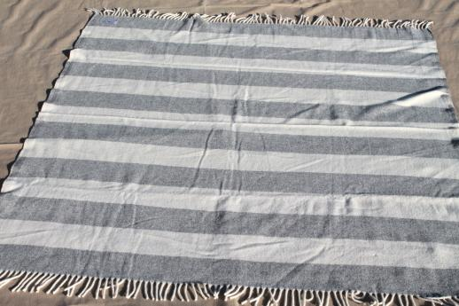 Pure Wool Fringed Throw Rustic Alpine White Grey Striped Camp Blanket Inspiration Grey And White Throw Blanket