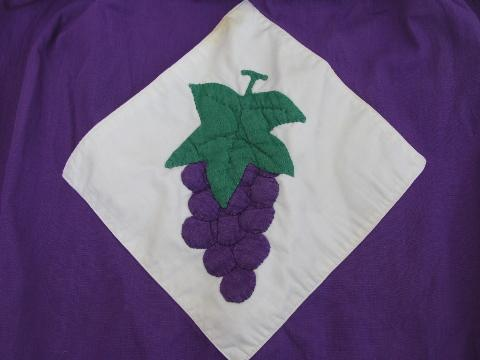 purple grapes applique, vintage cotton half apron, nice big kitchen apron