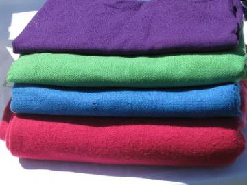 purple / green / blue / pink, lot vintage wool fabric for sewing crafts, felting, braiding rugs