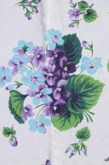 purple violets vintage printed cotton apron & kitchen tablecloth, so retro & so sweet!