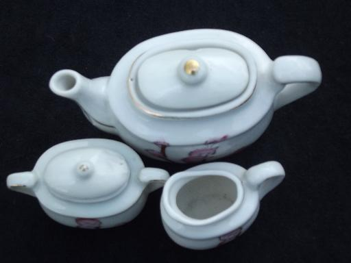 pussy willow babies child's china tea set, vintage Japan toy doll dishes