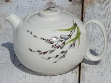yellow gray vintage pink leaves Teapot