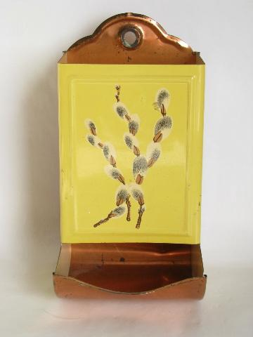 pussy willows on yellow, vintage metal kitchen match safe wall pocket box