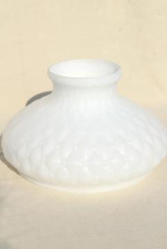 quilted diamond pattern glass lamp light shade, translucent milk glass replacement shade