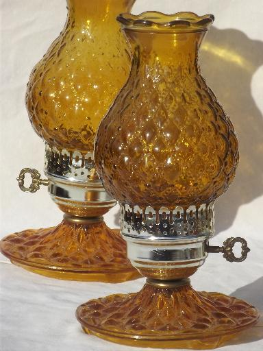 Quilted Pattern Amber Glass Lamps W/ Hurricane Shades, Vintage Lamp Set