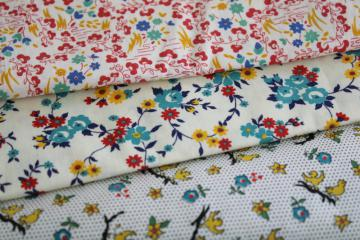 quilting fabric lot mid-century vintage cotton prints red yellow aqua blue