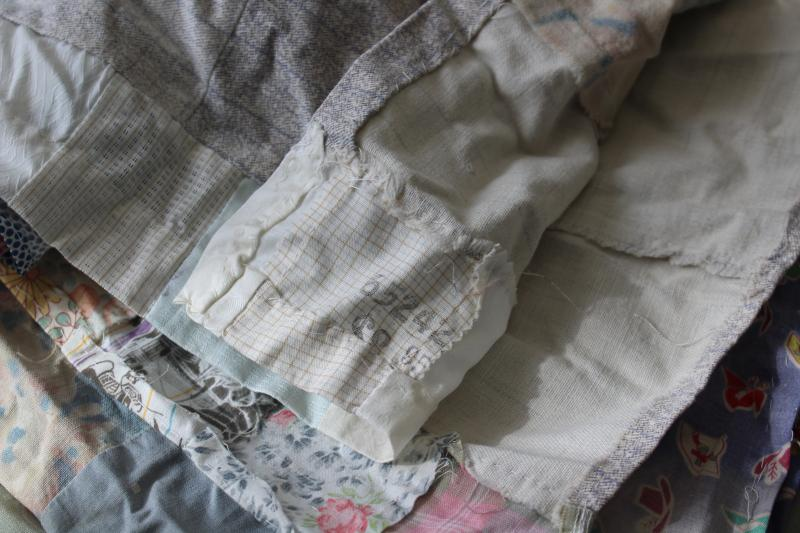 ragged vintage quilt tops, lot pieced patchwork for crafts sewing upcycle projects