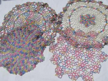 rainbow pastels vintage varigated cotton tatting & crochet thread lace doilies lot
