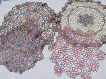 rainbow pastels vintage varigated cotton tatting & crochet thread lace doilies lot