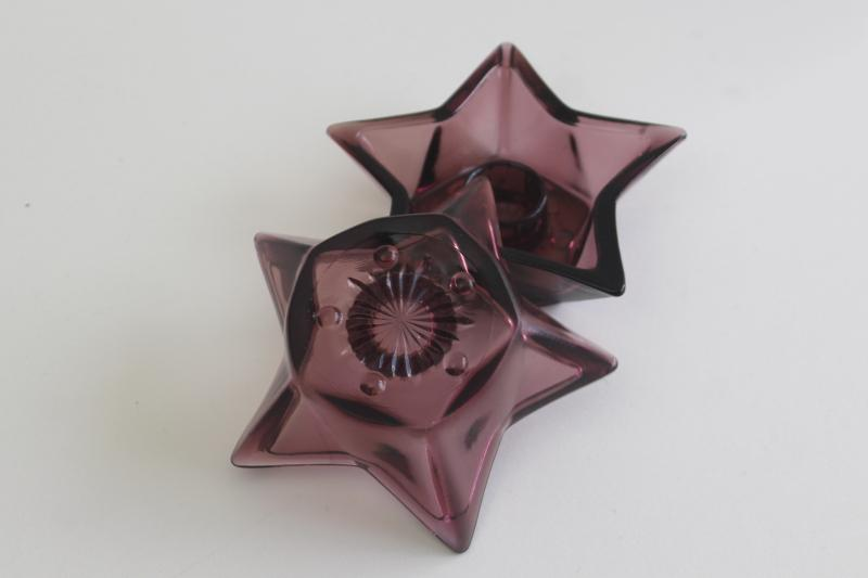 rare Moroccan amethyst glass star shape candle holders, vintage Hazel Atlas glassware