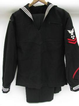 rare US Navy sailor's experimental dress blue uniform- USS Sampson