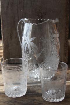 rare feeding swan pattern EAPG vintage glass lemonade pitcher & tumbler glasses