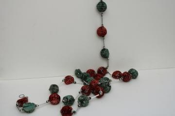 rare old Christmas garland decoration, string of red & green honeycomb paper balls