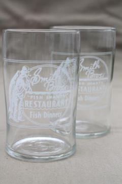 rare old glass tumblers advertising Smith Bros Fish Shanty restaurant Port Washington