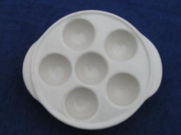 rare old white ironstone china egg coddler 6 egg cups