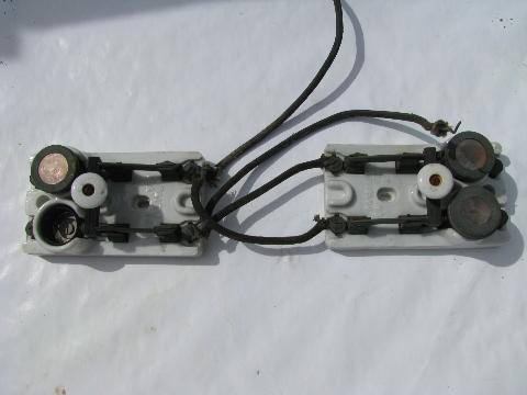vintage deadstock electrical parts etc rare pair of old early electric industrial circuit breaker switches w mica fuse sockets