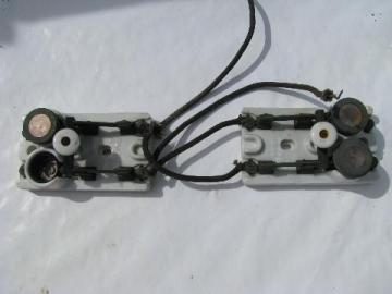 rare pair of old early electric, industrial circuit breaker switches w/ mica fuse sockets & fuses, 1800s patents
