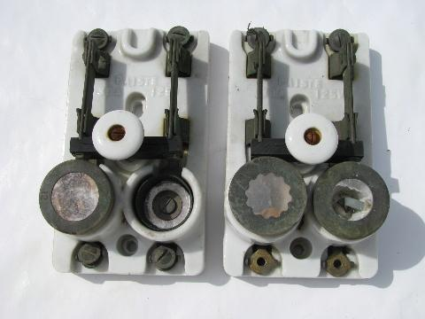 rare pair of old early electric porcelain architectural breaker switches w/ mica fuse sockets, 1891 patent