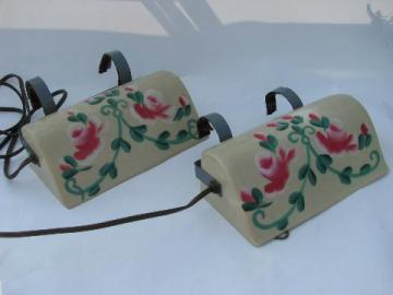 rare pair vintage reading lights, plastic bed headboard lamps w/ flowers