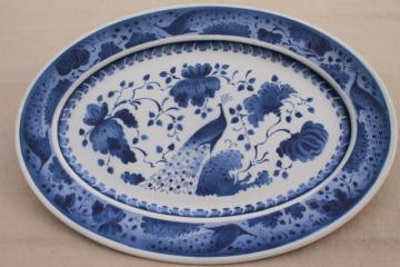 rare vintage Royal Copenhagen Aluminia faience pottery blue & white peacock huge platter