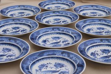 rare vintage Royal Copenhagen Aluminia faience pottery blue & white peacock soup plates set