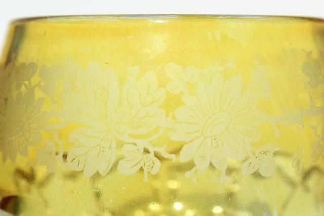 rare yellow stain color glass novelties, antique spoon holder, daisy & button tumbler