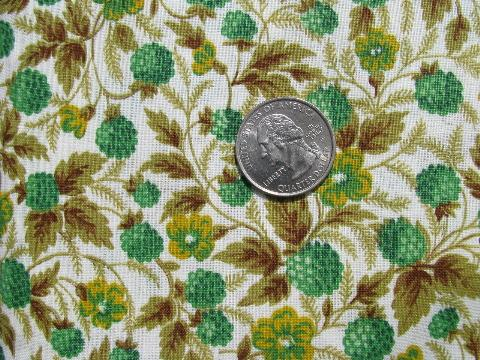 raspberries print vintage 1950's cotton fabric, green and yellow