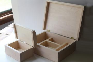 raw natural unfinished wood boxes, dome top trunk storage chest for jewelry or supplies