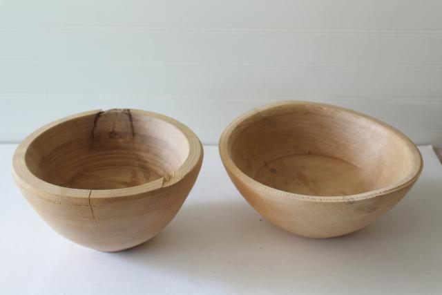 raw rough natural carved wood bowls, unfinished wooden vessels with rustic flaws