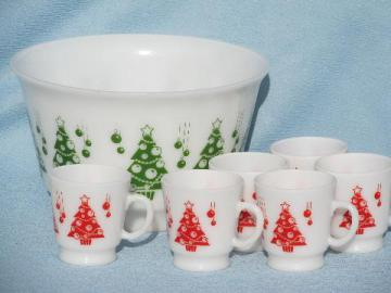 red and green Christmas Trees eggnog punch cups and bowl, vintage milk glass