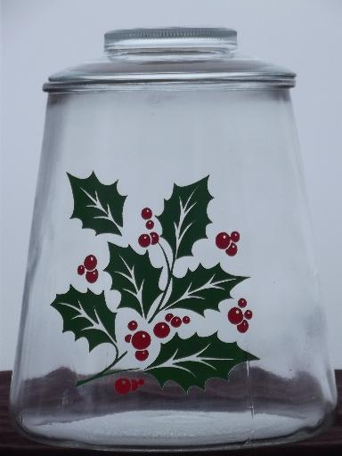 red and green Christmas holly clear glass cookie jar kitchen canister