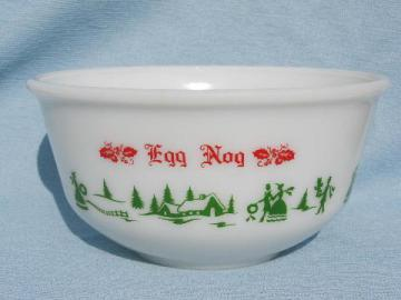 red and green Hazel-Atlas Christmas eggnog punch bowl, vintage milk glass