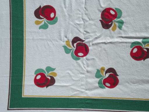 Red Apples Print Authentic Vintage Printed Cotton Kitchen
