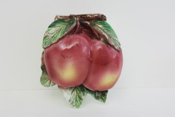 red apples vintage Japan painted china wall pocket vase, decorative plaque