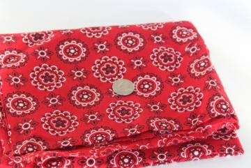 red bandana print cotton fabric, 1950s vintage rockabilly or work wear style!