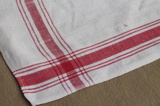 Delightful Beaver Linen Towel Antique Vintage Woven Jacquard Kitchen Cloth. Red White  Cotton Kitchen ...