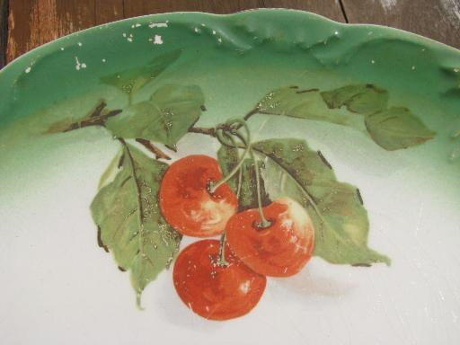 red cherries antique china cake or sandwich serving plate / round tray