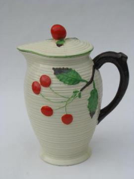 red cherries, vintage Japan majolica style pottery pitcher or coffee pot
