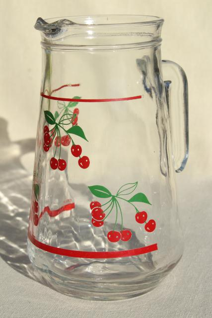 Red Cherry Print Glass Pitcher U0026 Drinking Glasses, Vintage Glassware Set  Made In Italy