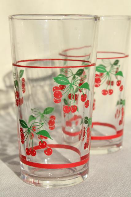 Red Cherry Print Glass Pitcher Amp Drinking Glasses Vintage