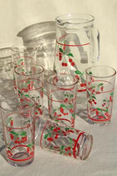 red cherry print glass pitcher & drinking glasses, vintage glassware set made in Italy