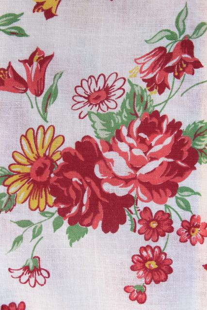 red & coral roses & yellow daisies vintage print cotton feed sack fabric