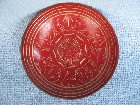 red enameled etched brassware boxes, bell, bowl India solid brass lot
