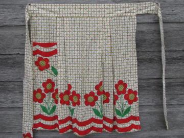 red flowers vintage cotton print kitchen apron, 1950s-60s half-apron
