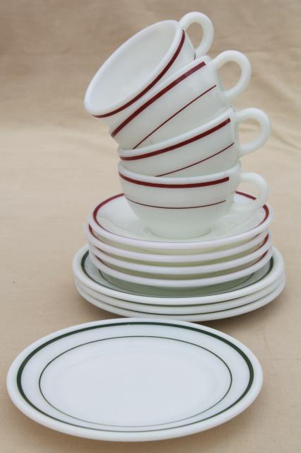 red \u0026 green band vintage Pyrex milk glass dishes coffee cups \u0026 dessert plates set for 4 & red \u0026 green band vintage Pyrex milk glass dishes coffee cups ...