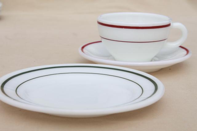 red & green band vintage Pyrex milk glass dishes, coffee cups & dessert plates set for 4