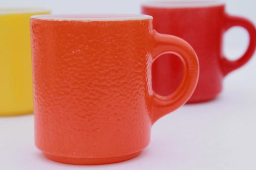red, orange, yellow vintage heat proof milk glass coffee mug w/ fired on colors