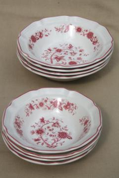red - pink Indian tree transferware bowls, retro vintage stoneware pottery
