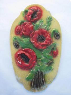 red poppies, old chalkware kitchen wall plaque, vintage 1930s-40s